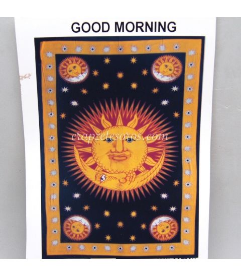 Alegre Zodíaco estampado en tapiz de algodón de la India