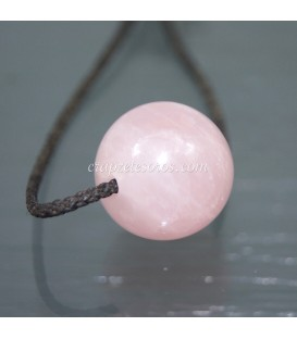 Esfera de Cuarzo rosa perforada para colgar