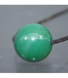 Esfera de Ágata verde perforada para colgar