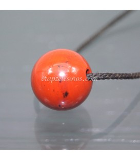 Esfera de Jaspe rojo perforada para colgar
