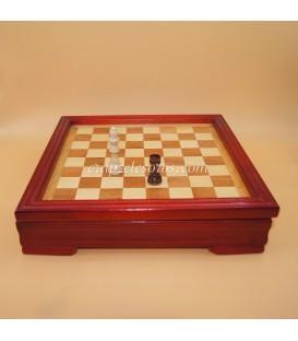 Ajedrez y Damas en tablero caja madera