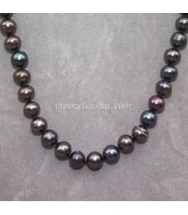Perlas naturales negras cultivadas en collar con nudos entre capa pieza y terminaciones de plata de ley