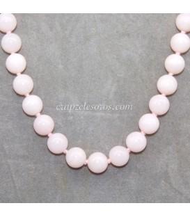 Ópalo rosa talla esfera en collar con cierres plata ley