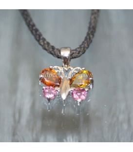 Mariposa de Turmalinas rosas Rubelítas y Amarillas - Dravitas en colgante de plata de ley