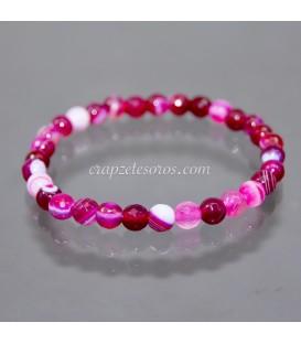 Ágata rosa de esferas facetadas 6mm pulsera elástica