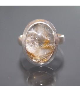 Excepcional creación de Morganita con Rutilo en anillo de plata de ley