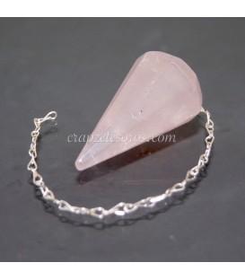 Cuarzo rosa tallado en forma de péndulo para radiestesia