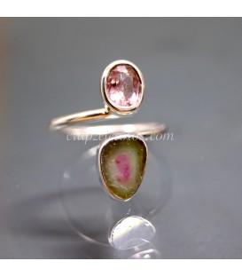 Turmalina sandía de Brasil talla corazón en anillo de plata de ley