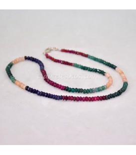 Corindón Zafiros multicolor talla discoide en collar degradé con cierres de plata de ley