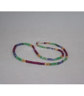 Corindon multicolor degradé (Rubi, Esmeralda. Zafiro) en collar con cierres de plata de ley