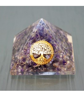Orgonite pirámide Árbol de la vida y Amatistas