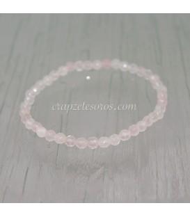 Pulsera esferas facetadas de Cuarzo rosa elástica
