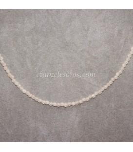 Collar de esferitas de Cuarzo rosa facetado y cierre de plata de ley
