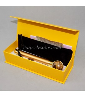 Masajeador Vibrador de Ojo de tigre y metal dorado