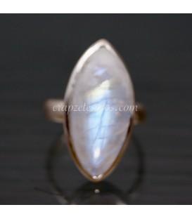 Piedra luna en anillo de plata de ley ajustable