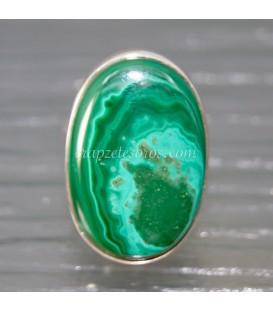 Preciosas Azurita y Malaquita en anillo exclusivo de plata de ley ajustable