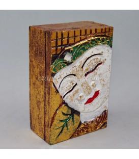 Caja madera buda policromada
