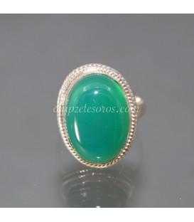 Ágata u Ónix verde en anillo de plata de ley