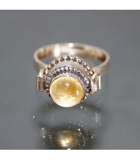 Cuarzo citrino en anillo relicario de plata de ley