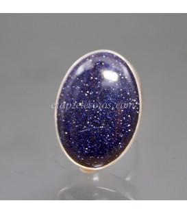 Aventurina noche o azul en anillo ajustable de plata de ley