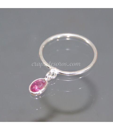 Rubelita o turmalina rosa en anillo de plata de ley
