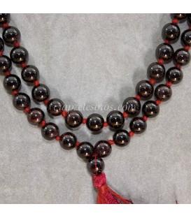 Mala o rosario oriental con esferas de hematites y Ojo de tigre