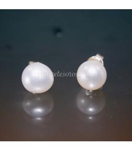 Pendientes de perlas naturales grises en plata de ley