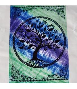 Árbol de la vida estampado en cromático tapiz hindú