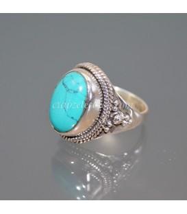 Turquenita cabujón en anillo de plata de ley