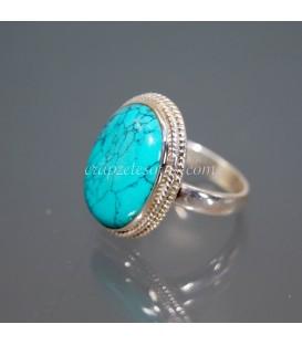 Haliotis o concha natural en anillo relicario de plata envejecita