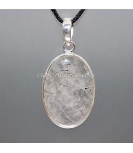 Cuarzo con Turmalinas en colgante de plata de ley