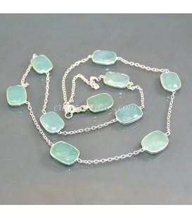 Collar con 10 gemas Ágatas azules facetadas y plata de ley