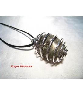 Pirita rodada en espiral de metal para colgante