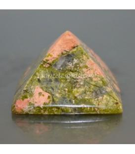 Pirámide caja doble de madera con cristales multicolor