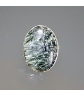 Serafinita piedra ángel en anillo de plata de ley