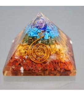 Pirámide de Orgonites con los minerales de los chakras