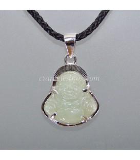 Jade tallado con imágen de Buda Hotei en colgante de plata de ley