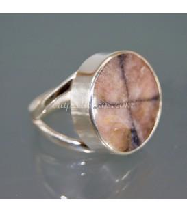 Quiastolita , piedra de la Cruz o piedra de las Hadas en anillo de plata de ley