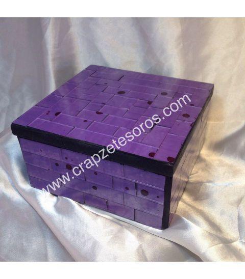 Caja de madera de India con cristales Lilas
