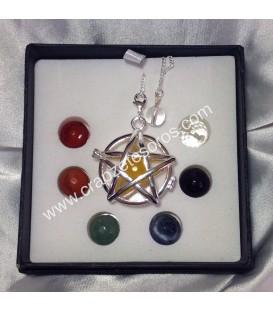Estrella de Salomón en colgante - péndulo relicario circular de los chakras.