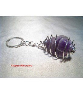 Llavero Amatista rodada en espiral de metal