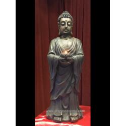 Impresionante Buda de 62 cm con bandeja de ofrendas, en resina