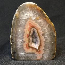 Placa de Ágata sardónice con cristales de cuarzo de Brasil