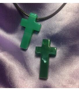 Colgante cruz Agata verde