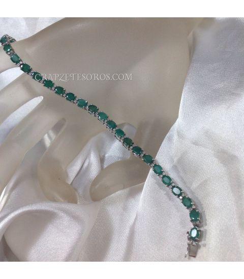 Pulsera de esmeraldas, brillantes y oro