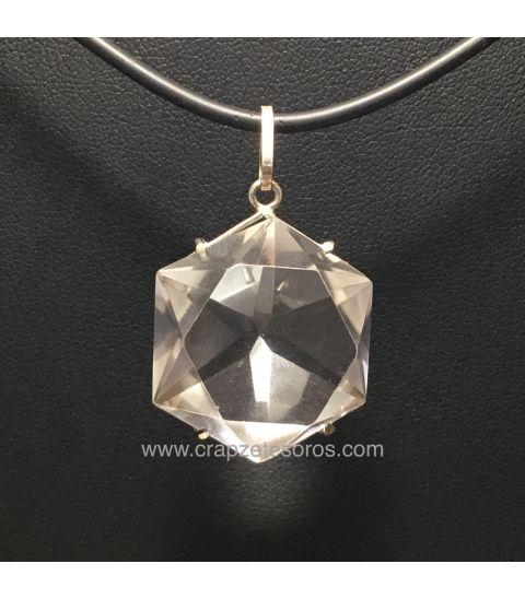 Cuarzo hialino doble estrella de David , doble exágono y 12 triángulos en colgante de plata