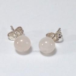 Cuarzo Rosa en pendientes de esferas y plata