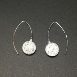Esferas de Cuarzo crakeado en pendientes de pez de plata de ley