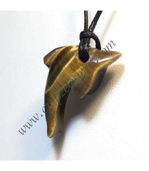 Ojo de tigre tallado como colgante delfín