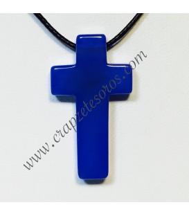 Agata azul talla cruz en colgante